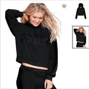 PINK Victoria's Secret Tops - VS PINK BLACK VELVET CROPPED PULLOVER HOODIE